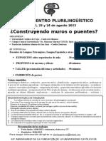 XIX Encuentro Plurilinguistico San Juan- AFICHE CONVOCATORIA-2013