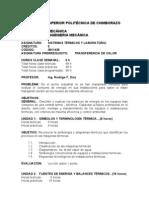 Programa Analitico Sistemas Termicos Septiembre 2012