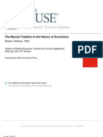 Brewer, Anthony 2002 'the Marxist Tradition in the History of Economics' HPE, Vol. 34, Annual Supplement (Pp. 361--377)