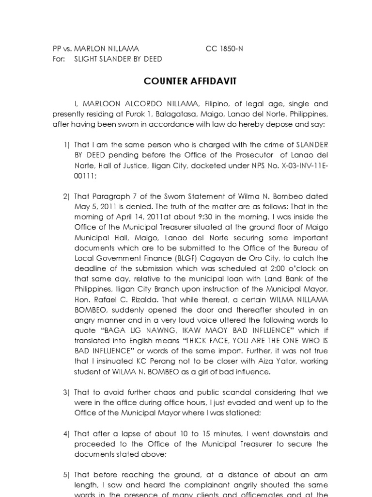 Counter Affidavit SAMPLE Public Law – Affidavits Template
