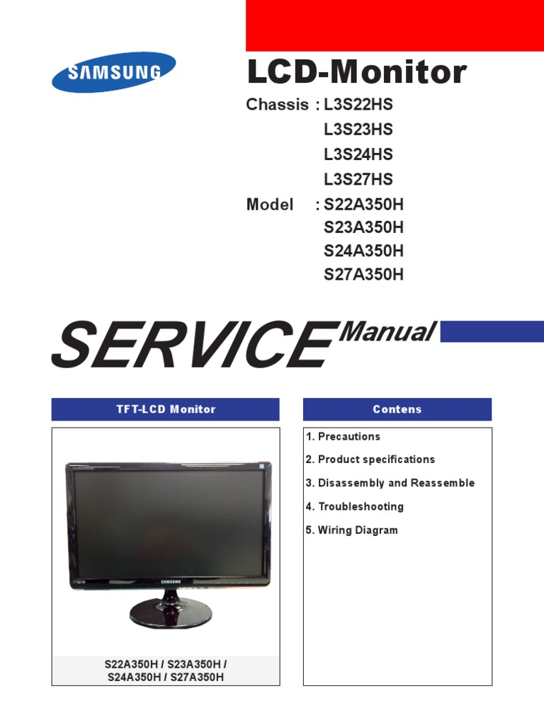 S24A350H Service Manual Samsung | Electrostatic Discharge | Electrical  Connector
