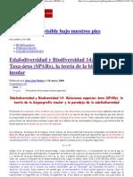 Edafodiversidad y Biodiversidad 14_ Relaciones Taxa-área _(SPARs_), la teoría de la biogeografía insular