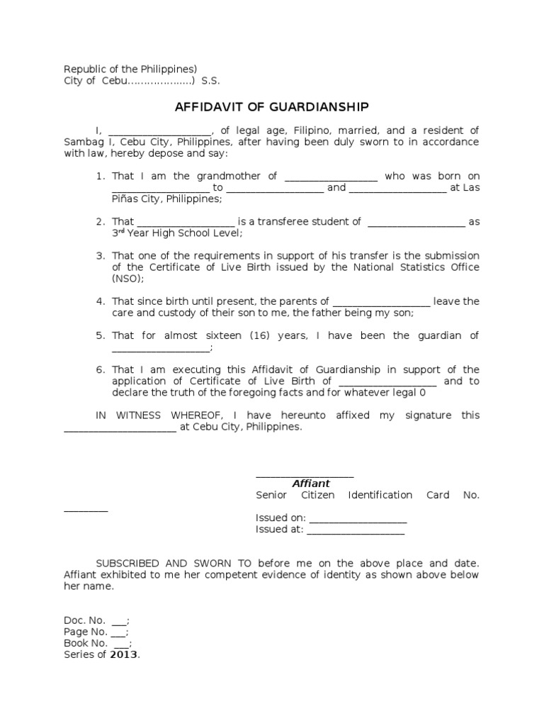 Affidavit of guardianship aiddatafo Gallery