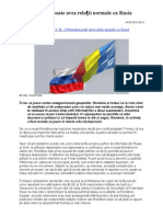 România poate avea relații normale cu Rusia
