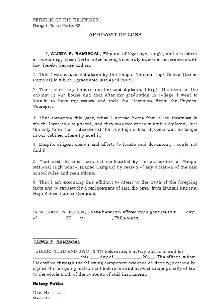 Affidavit of Loss – Affidavit of Facts Template