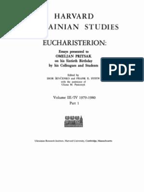 Harvard Ukrainian Studies Volume Iii Iv Part 1 1979