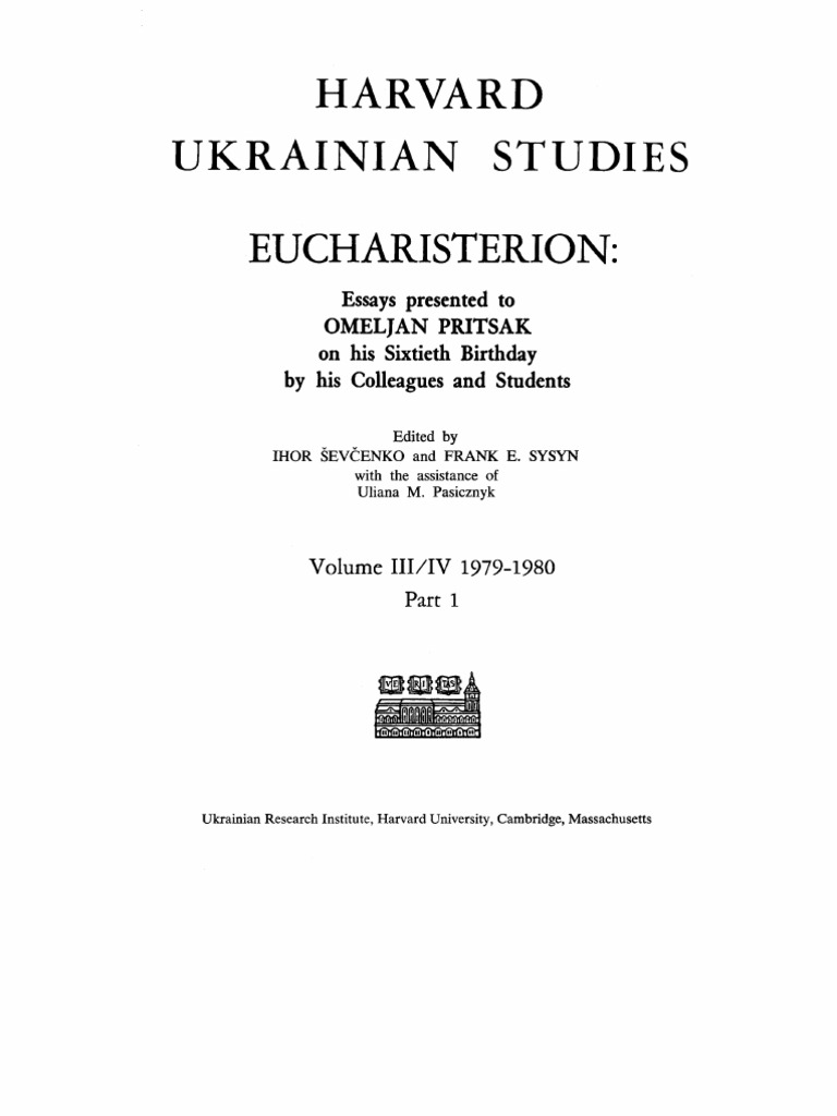 Harvard Ukrainian Studies. Volume III-IV. Part 1. 1979 - 1980.PDF ...