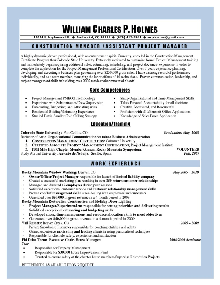 Business Development Resume Construction Management Project
