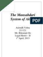 Legal History - Mansabdari System