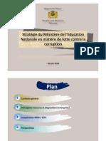 Stratégie du Ministère de l'Education Nationale en matière de lutte contre la corruption