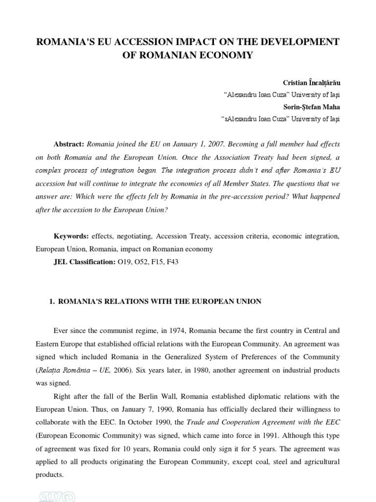 Romania's EU Accession Impact on the Development of Romanian