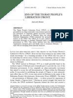 The Origins Of TPLF