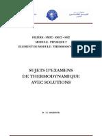 Sujets d Examens de Thermodynamique Avec Solutions