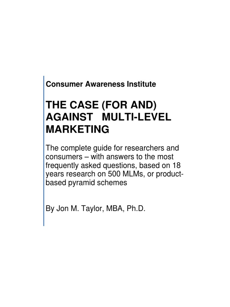 The case for and against multi level marketing jon taylor the case for and against multi level marketing jon taylor multi level marketing federal trade commission fandeluxe Choice Image