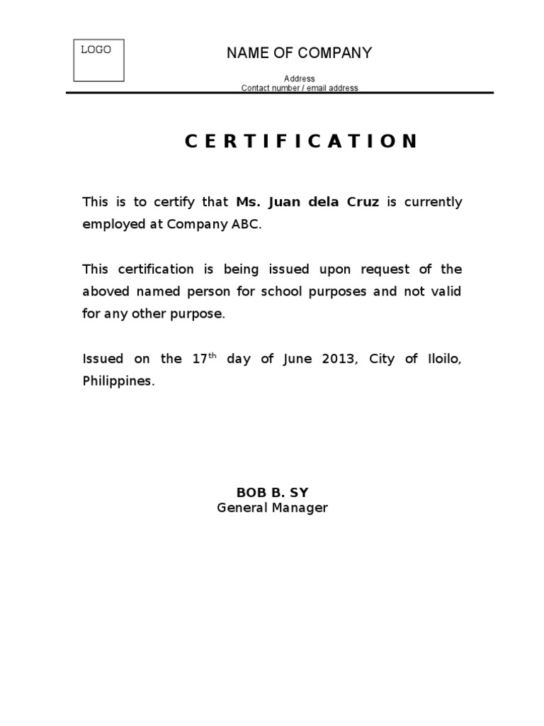 Certificate of employment yadclub Image collections
