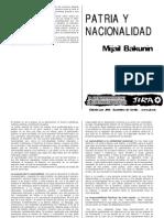 Mijail Bakunin Patria y Nacionalidad