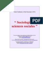 DURKHEIM, Émile - Soiologie et Sciences Sociales