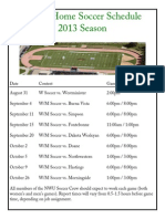 NWU Home Soccer Schedule