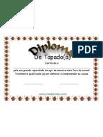 Diploma de Tapado Certificado GRATIS em PDF Modelo Pronto para Imprimir