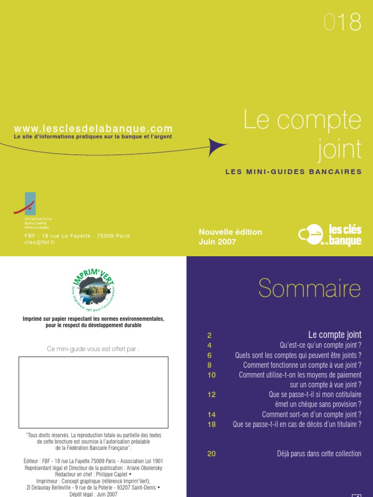 Mini Guide 18 Le Compte Joint