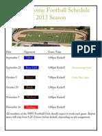 NWU Home Football Schedule