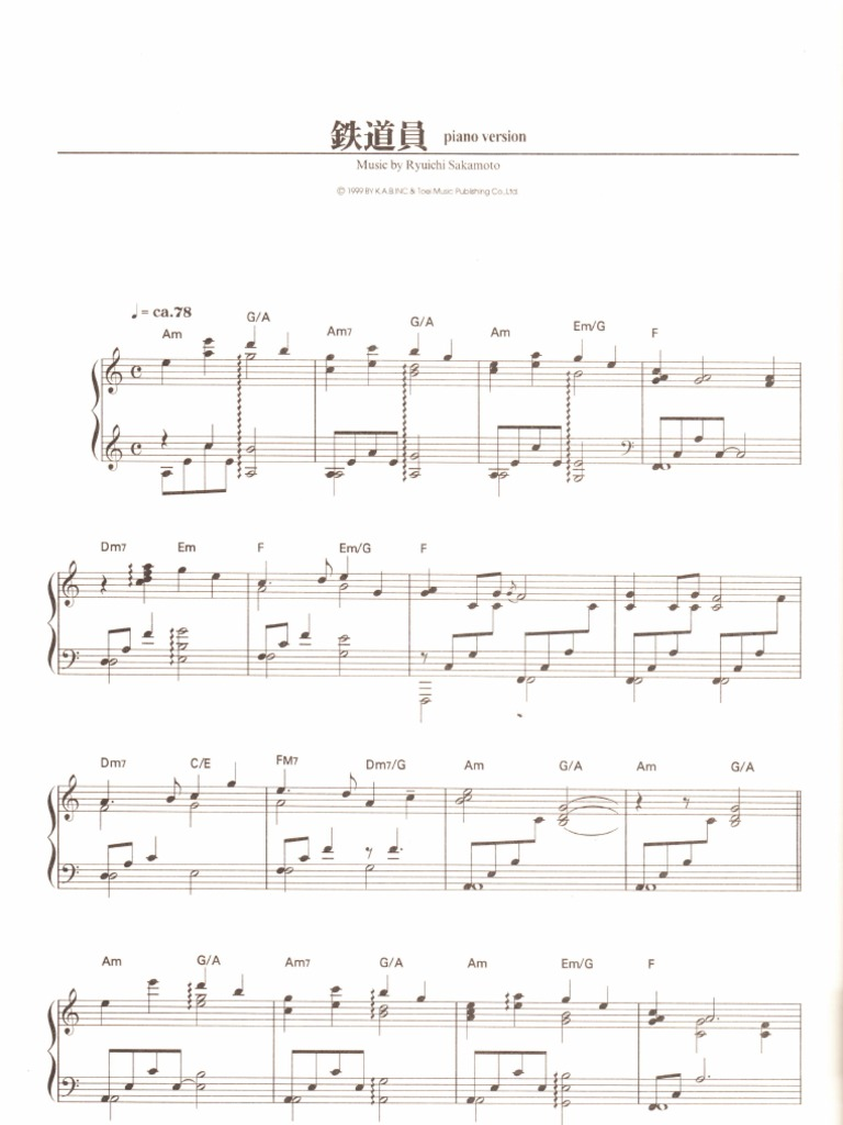 ryuichi sakamoto koko sheet music pdf