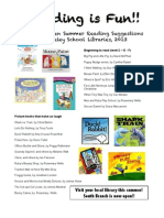 Kindergarten Summer Reading List 2013