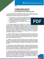 """Comunicado avances de """"Megaobra Costa Verde para todos"""""""