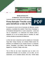 Firma Salvador Treviño compromisopara beneficiar a más de 10 colonias
