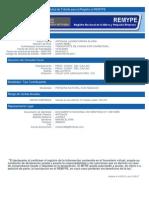 Constancia Solicitud de Registro Al REMYPE