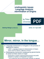Sociolinguistic Issues in Language Analysis for Asylum Determination