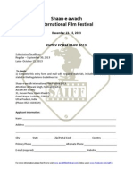 SAIFF Entry Form and Rules 2013