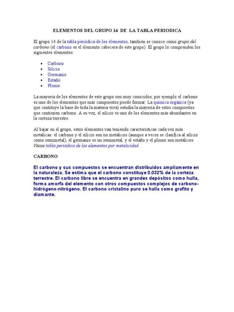 Elementos del grupo 14 de la tabla periodica urtaz Images