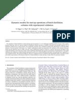 Dynamic Models for Start-up Operations of Batch Distillation