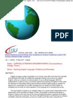 Teaching English Language_ Problems and Remedies _ English - Archive - IsRJ