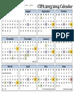 CIPA Calendar 2013-2014