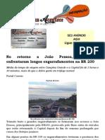 No retorno a João Pessoa, motoristas enfrentaram longos engarrafamentos na BR 230
