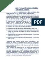 ORIENTACIONES PARA LA FINALIZACIÓN DEL AÑO ESCOLAR 2011.doc