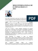 Xiii Congreso Internacional de Ingenieria Metalurgica y Minas El 2013