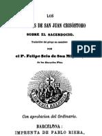 Los Seis Libros de San Juan Crisostomo Sobre El Sacerdocio