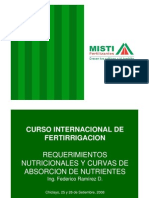 Requerimientos Nutricionales y Curvas de Absorcion de Nutrientes