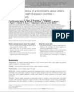 Regber S Et Al.2012 Parental Perceptions of and Concerns About Child's Body Weight in Eight European Countries. the IDEFICS Study