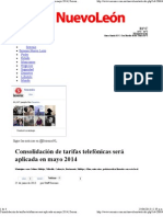 25-06-13 Consolidación de tarifas telefónicas será aplicada en mayo 2014
