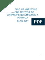 Cercetarea Motivelor de Cumparare-Necumparare a Iaurtului Nutriday Natural