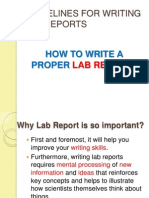 Guidelines for Writing Lab Reports