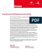 MEDIA RELEASE Australia Council Bill approved by the Senate