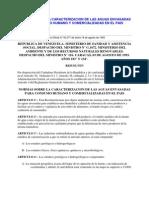 Normas Sobre La Caracterizacion de Las Aguas Envasadas Para Consumo Humano y Comercializadas en El Pais
