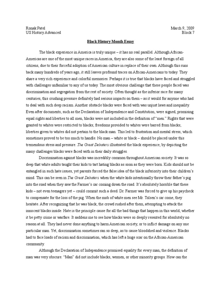 african american history paper African american history essay for blacks by: paul quintero african american history plays an important role in american history not only because the civil rights movement, but because of the strength and courage of african americans struggling to live a good life in america.