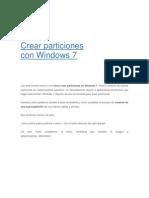 Crear Particiones Con Windows 7