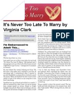 It's Never Too Late To Marry by Virginia Clark